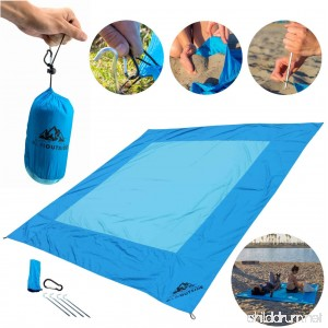 Beach Blanket with Travel Case - 7x7 Feet as Large as a King Size Bed yet Not Too Big for a Crowded Summer Beach - Compacts into a Small 4x7 inch bag - Sand Resistant Wind Proof Quick-Dry - B073G3P1PK