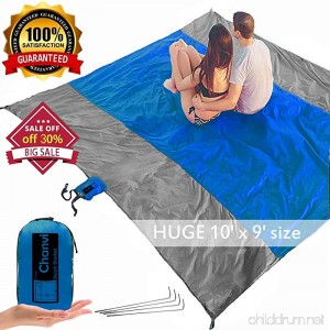chanvi Large Beach Blanket Handy Sand Mat- Extra Size 9' x 10' Holds 7 Adults with Strap - Perfect for Picnics Beaches RV and Outings Weather-Proof and Mold/Mildew Resistant Huge Ground Cover - B07C3JC7FG