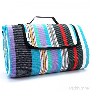 Extra Large Picnic Blanket Waterproof 79 x 79 with Tote Camping Mat Striped Ground Sheet for Summer Beach Hiking Grass Travel Outdoor Blanket - B07DZJQSLY