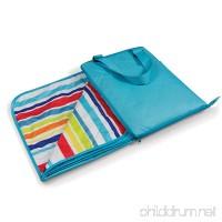 ONIVA - a Picnic Time brand Vista Outdoor Picnic Blanket Tote Aqua with Fun Stripes - B00HKVGXFI
