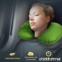 Inflatable Travel Pillow  Soft Head Chin Neck Support Pillow  Pocket Size Foldable U Shaped Travel Pillow for Airplane Train Bus Car Seat Rest with Storage Bag (Green) - B077W4QF62