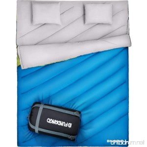 FUNDANGO XL Double Sleeping Bag for Camping Hiking Traveling 2 Person King Size Sleeping Bag with 2 Pillows and Compression Bag (87 × 66) - B071JNWNSZ