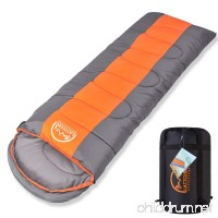 "LATTCURE Sleeping Bag  Comfort Portable Lightweight Envelope Sleeping Bag with Compression Sack for Camping Hiking Backpacking Traveling and Other Outdoor Activities -Single Orange+Grey (75""+12"") x33 - B075NHQX1V"