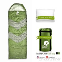 Sleeping Bag Outdoor Camping Extra Wide - Bonus Pillow - For Men Women & Adults 210T Ripstop Compact Envelope Sleeping Bag - Ideal For All Year Long–Available In Two Colors and Different Thickness - B076GCYVXS