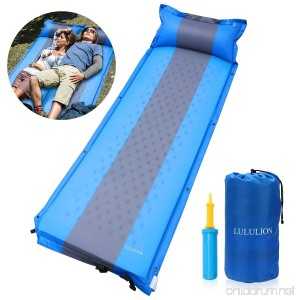 LULULION Self Inflating Sleeping Pad Foam Camping Mat with Pillow Light Weight Camping Air Mattress for Hiking Backpacking Indoor Party- Air Pump Included - B07FCD5RDJ