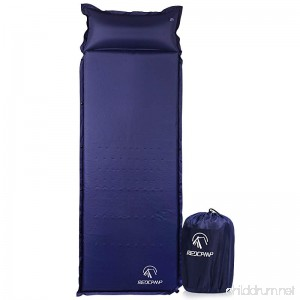 REDCAMP Self-Inflating Sleeping Pad with Attached Pillow Compact Lightweight Camping Air Mattress with Quick Flow Value Blue 77x26x1.2-2 - B01M1CTCJQ