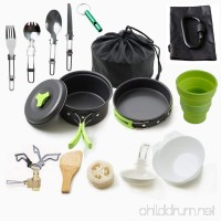 Camping Cookware Mess Kit Backpacking Gear & Hiking Outdoors Bug Out Bag Cooking Equipment 18 Piece Cookset (Green) … - B075F921GD