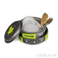 Camping Cookware Mess Kit Set for Backpacking and Hiking - Lightweight  Durable and Compact for Outdoor Cooking. Comes with Nylon Storage Bag - Fits easily inside Backpack - B073S3L92J