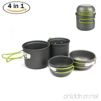 DONYER POWER Donyer Outdoor Camping Cookware Set 4 Pieces Lightweight Compact Durable Camping Bowl Pot Pan Cooking Mess Kit for Camping Backpacking Hiking Picnic for 2-3 Persons - B0792V86TZ