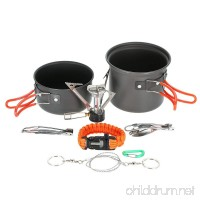 Lixada Camping Cookware  Backpacking Cookware Set with Mini Gas Stove  Non-stick Pot Pan  Carabiner  Folding Sporks  Wire Saw  Paracord Bracelet for Outdoor Camping Hiking Picnic - B07B3RDH7L