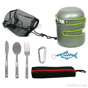 Wealers Compact Foldable Outdoor Camping Hiking Cookware Backpacking Cooking Picnic Bowl Pot Pan Set with Mesh Bag - B0147DPVD6
