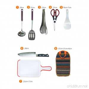 Do4U Camp Kitchen Utensil Organizer Travel Set - Portable 7 Piece BBQ Camping Cookware Utensils Travel Kit with Water Resistant Case|Cutting Board|Rice Paddle|Tongs|Scissors|Knife - B076RX9TJZ