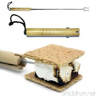 "Marshmallow Roasting Stick - Smores Stainless Steel Fork Extendable to 28"" - Protect Kids From the Fire - Fully Collapses Into a Wood Handle - Velcro Belt Loop Pouch (1 Stick Pack) - B010CE4CQQ"