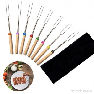 Marshmallow Roasting Sticks Extending Roaster Set of 8 Telescoping Smores Skewers & Hot Dog Forks 32 Inch Fire Pit Camping Cookware Campfire Cooking Kids with FREE Bag - B07F9HQ49C