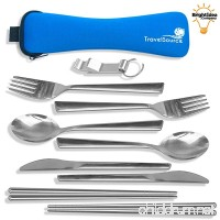 TravelSource 2-person Stainless-Steel Camping Eating Utensils Kit + Case With Backpack Hanging Strap  Chopsticks & Bottle Opener - B01LX29R5C