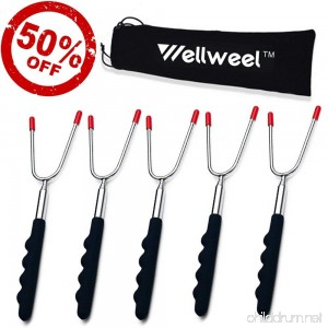 wellweel Marshmallow Roasting Sticks Smores Hot Dog Forks BBQ Skewers 45 Extra Long Telescoping Extendable Smores Skewers - Fire Pit Camping Campfire Bonfire & Outdoor Cookware Kit (5 set) - B074LZY428