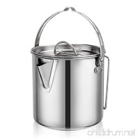 Cyberone 1.2QT Stainless Steel Teapot Coffee Pot Cooking Kettle with Lid and Foldable Handle for Camping Hiking Fishing Picnic - B07BLRM718