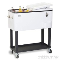 BLACK+DECKER Mobile Cooler Cart  Two Door Seal Lid  Bottle Opener with Catch Basin  Bottom Storage Tray  4 Rolling Wheels  White  BCC20W - B0741FBQ2Y