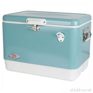 Coleman Vintage Steel-Belted Portable Cooler with Bottle Opener 54 Quart Turquoise - B01F3JV4TS