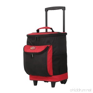 Cool Carry 2-Section 40-Cans Capacity Rolling Cooler with Thermal Insulation - B079CBZG3L