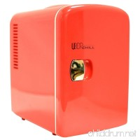 Uber Appliance UB-CH1 Uber Chill Mini Fridge 6-can portable thermoelectric cooler and warmer mini fridge for bedroom  office or dorm (Uber Red) - B013VZ4074