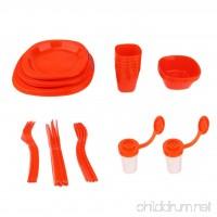 Baosity Plastic Dinnerware Set 51 Piece Family Party Dinnerware Set Including Water Cups Plates Bowls Flatware Set - B07DGK53ML