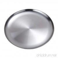 MonkeyJack Stainless Steel Plate - Portable Dinnerware Plates for Outdoor Camping | Hiking | Picnic | BBQ | Beach - B078X3JXPT