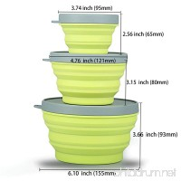 Collapsible Prep/Storage Bowls with Lids - Set of 3 Collapsible Silicone Bowl for Camping - Food-grade & Space-Saving (Set of 3 size  Light Green) - B01BBE64YE