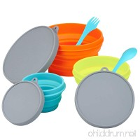 LevelOne Collapsible Silicone Camping 3PC Bowl Set with Forks - B072Q9TB88
