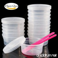 win-full 15PCS Clear Slime Containers With 15PCS Corresponding Fit Lids Leakproof Plastic Storage Containers + 2PCS Slime Mixing Spoons - B07FTNS3DN