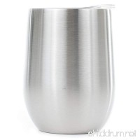 12 oz Stemless Stainless Steel Wine Tumbler - Dual Wall Vacuum Insulated - Ideal for Red Wine  Liquors and other beverages - Keeps Ice Cold and Hot - B07B4MT78Y