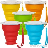 5 Pack Collapsible Travel Cup with Lid  6Oz Silicone Foldable Drinking Mug  SENHAI BPA Free Retractable for Hiking Camping Picnic - Blue  Green  Yellow  Orange  Red - B073W948V1