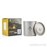 Camping Cup (450ml/ 600ml) With & Without Lid  Extra Strong & Ultra Lightweight (Ti) Camping Mug With Measurement Marks  Titanium Cup for Hiking / Backpacking / Camping in Easy to Store Cloth Case - B078P5PRNV