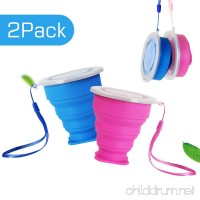 Eastshining Collapsible Travel Portable Cup Telescopic Outdoor Camping Mug with Food-grade Silicone Pocket-sized Drinking Water Wine for Hiking Picnic 6.7oz(200ml)with Lid-Blue and Rose Red - B073W85BJY