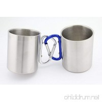 Finex Set of 2 - Stainless Steel Portable Travel Water Tea Coffee Mug with Handle for Outdoor Sports Camping Hiking Climbing Home Office Adult & Kids - Random Paint Color - B01FL6Q3RQ