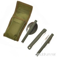 Stainless Steel Lightweight Foldable & Portable - 3 Piece Knife Fork Spoon Set Picnic Cutlery Utensil Set  Army Green - B073XLCJHH