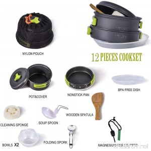 TTLIFE Camping Cookware Mess Kit Backpacking Gear & Hiking Outdoors Bug Out Bag Cooking Equipment 12 Pcs - B072PRYLNV