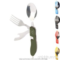 Fork Knife Spoon 4-In-1 Travel Camping Outdoor Stainless Steel Buy The Way Flipware Utensil Bottle Opener and Eating Tool - To-Go Flatware w/Traveling Case for Office Lunch Box or Picnic (Cucumber) - B07CWNCMKM
