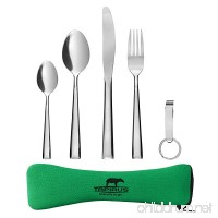 Tapirus Camping Eating Utensils To Go | Durable Stainless Steel Lightweight Construction Flatware | Travel Mess Cutlery Kit With Spoon  Teaspoon  Knife  Fork & Bottle Opener | Comes In A Carrying Case - B015QHZLIW