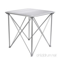 "Campshine Roll Up Top Aluminum Alloy Portable Camping Picnic Table with Carrying Bag 4 People Compact and Easy Transport for Camping  Outdoor Picnic  Vacation 28""x28""x28"" Silver - B06Y5R6254"