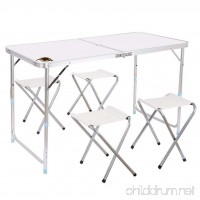 Edoking Folding Table with 4 Folding Stools Height Adjustable Aluminum Camping with Parasol Hole - B01M2ZG3HJ