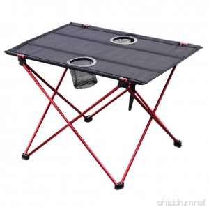 Folding Table Folding Camping Table Metal Frame 2 Mesh Cup Holders Compact Convenient Carry Case Included - Black - B07FM5XDPV