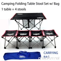 SAKATA Portable Folding Camping Table Stool Set (1 folding table+4 folding stools) Lightweight with Carrying Bag Perfect for Outdoor Watch World Cup Hiking Picnic Fishing Travel BBQ etc. (Black) - B07D2KD9GV
