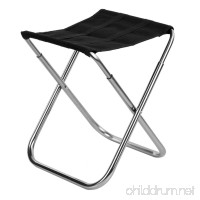 AVOLUTION Ultra Light Aluminum Alloy Outdoor Folding Stool Fishing Chair - Black - B07FLPZRCM