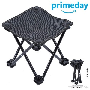 Mini Portable Folding Stool Folding Camping Stool Ultralight Outdoor Camping Chair for Camping Hiking Fishing Travel Beach Garden Barbecue Quickly Fold Chair Stool with Carry Bag (Black) - B07DZZG9YP