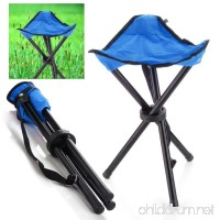 Outdoor Hiking Fishing Lawn Portable Pocket Folding Chair with 3 Legs Stool Blue - B00I9BPEQW