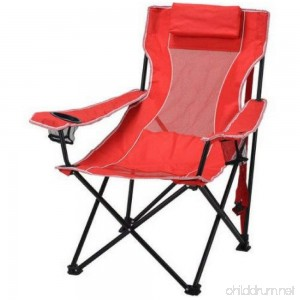 Ozark Trail Durable Oversized Mesh Lounge Folding Outdoor Beach Camp Chair- Includes Carrying Bag- Red - B072271RHM