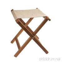 Teak Framed Folding Camp Stool with Khaki Canvas Seat - B004EFUN7C