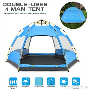 BATTOP 4 Person Tent [Double-Uses] Instant Pop Up Family Camping Tent - Double Layer - Waterproof - 4 Season Backpacking Tent - B078WPH2TN