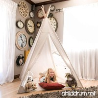 Best Choice Products 6ft Teepee Play Tent Kids Indian Canvas Playhouse Sleeping Dome w/ Carrying Bag - White - B01I4C2V48